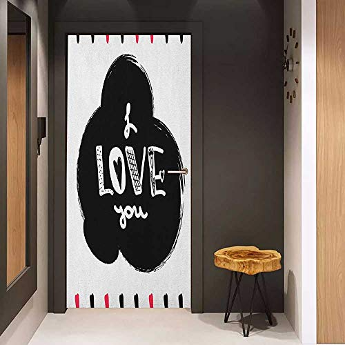 Onefzc Door Wallpaper Murals Romantic Hand Drawn Poster with Modern Calligraphy and Letters Childish Design Frame WallStickers W23 x H70 Pink Black White