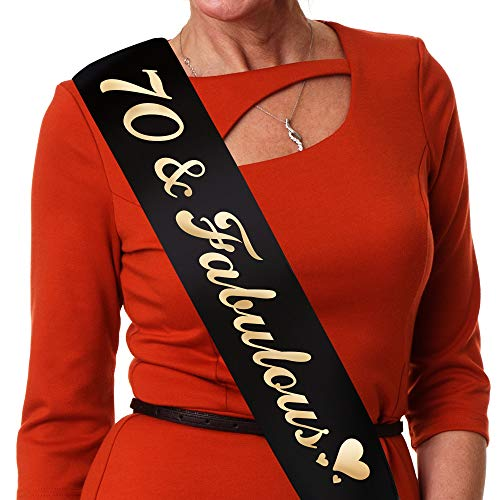 70th Birthday Party Supplies - Novasolutions Black Satin 70th Birthday Sash with Gold Font That Reads 70 and Fabulous - for 70th Birthday Decorations, Gifts and Favors - Rhinestone Pin Included -