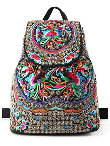 Embroidered Luggage Strap - Goodhan Vintage Women Embroidery Ethnic Backpack Travel Handbag Shoulder Bag Mochila (S01 - Size Biggest - Pink - Material Upgraded)