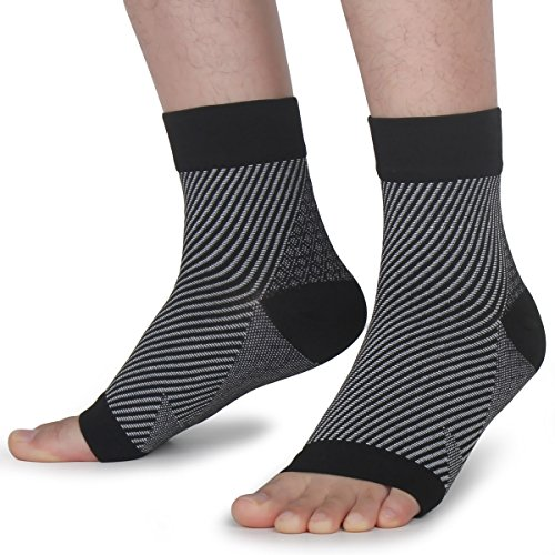 Compression Socks with Arch Support for Heel and Foot Pain Relief (1 Pair) for Men and Women. Relieves Achilles Tendonitis, Heel Spur and Joint Pain (L/XL, Black)