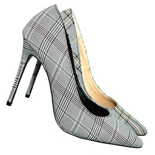 Aquapillar Plaid Tweed High Heels Dress Pumps - Women Retro Stiletto Comfy ()