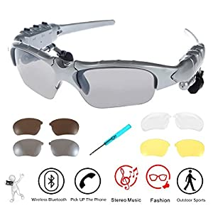 WONFAST Bluetooth Sunglasses Sun Glasses Music Handsfree Headset Headphones for Smart Phone PC Tablet IPHONE6 /6 PLUS Samsung HTC Bluetooth devices + Free Replaceable 3 pair lens (Yellow,Brown,Clear) - Silver