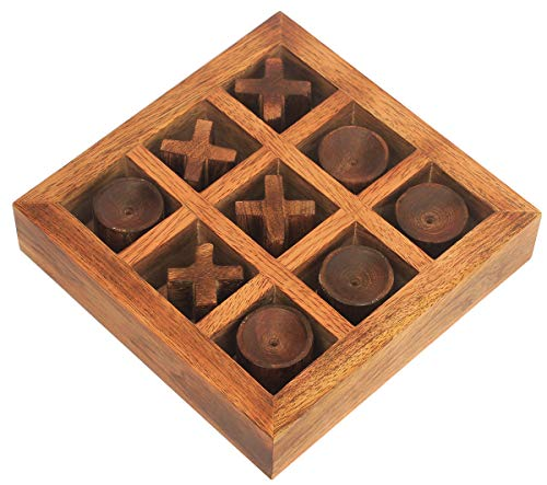 (Best Natural Wood Tic Tac Toe - Crafkart Wood Puzzle Tic Tac Toe Classic Board Games Noughts and Cross XOXO Family Brain Teaser Puzzle Coffee Table for Adults and Children All Ages)