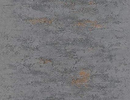 Papel pintado para pared con piedra gris industrial de vinilo met/álico envejecido para hormig/ón