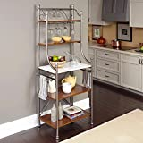 Grey and Tan Baker's Rack Made From Marble, Metal and Wood, Powder-coated Finish with Shelves and Two Towel Rack, Contemporary Style Included Cross Scented Candle Tart