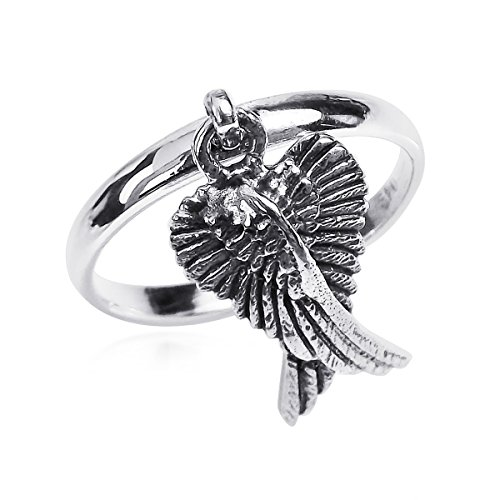 Mythical Heart Shape Angel Wing .925 Sterling Silver Dangle Ring (8)