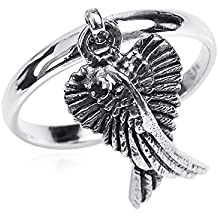 Mythical Heart Shape Angel Wing .925 Sterling Silver Dangle Ring