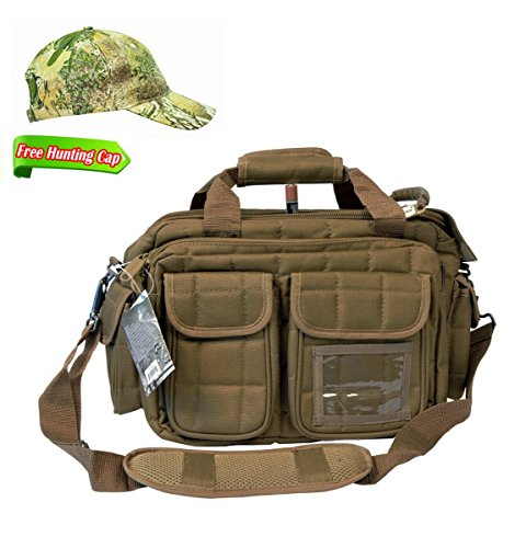 Explorer R1 Deluxe Tactical Padded Shooting Ammo Range Rangemaster Gear Carry Bag Pistol Hand Gun Case Tan,Free Gift Camo Hunting Sports Caps