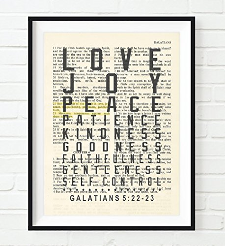 Love Joy Peace Patience -Fruit of the Spirit - Galatians 5:22-23 Christian UNFRAMED reproduction Art PRINT, Vintage Bible verse scripture wall & home decor poster, Inspirational gift, 5x7 (Fruit Of The Spirit Scripture)