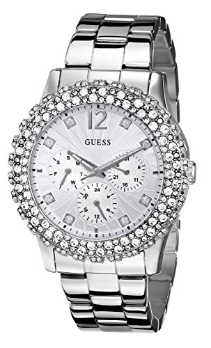 (GUESS Women's U0335L1 Silver-Tone Multi-Function Watch with Genuine Crystal Accents)