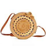 Women's Bag, Rattan Bag - Mesh - Open Beach Bag - Round Crossbody Bag - Lined - Vintage Floral Bag