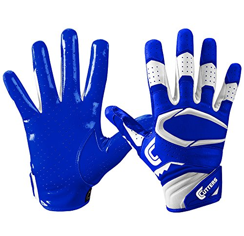 Cutters Gloves S451 Rev Pro 2.0 Receiver Football Gloves with Sticky C-Tack Grip, Royal/White, Adult XL (Wide Gloves Football Receiver)