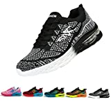 Men and Women's Fashion Sneakers Shoes Mesh Lightweight Breathable Casual Running Shoes-Black and White 42EUR
