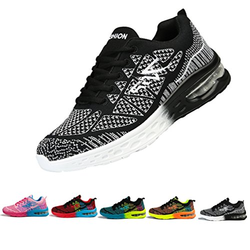 Men and Women's Fashion Sneakers Shoes Mesh Lightweight Breathable Casual Running Shoes-Black and White 41EUR by Sherry Love (Image #1)