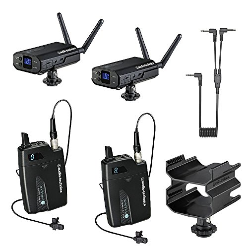 Audio-Technica System 10 Digital Wireless Camera Mount Microphone System (2 Mics Included) with Dual Mount Camera Shoe (2x Lavalier Mics)