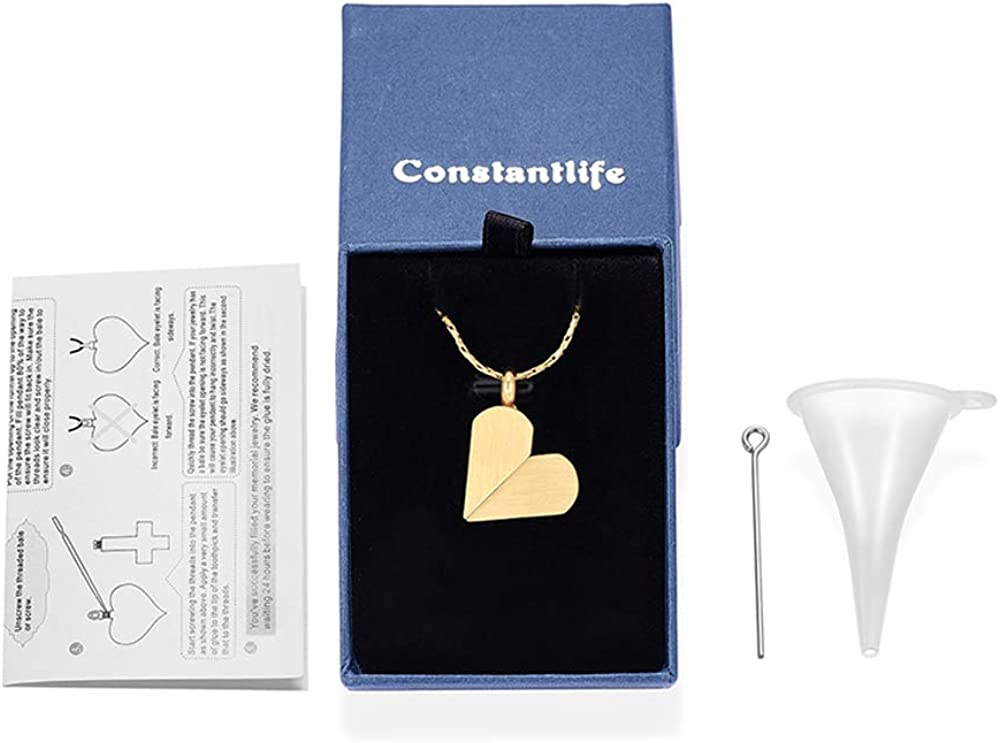 constantlife Cremation Jewelry for Ashes Memorial Urn Necklace Rotatable Heart Strip Shape Pendant Keepsake Personality Ash Holder
