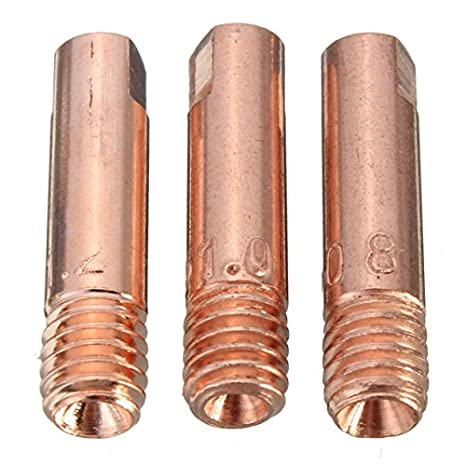 KUNSE 10 Pcs Mb-15Ak M6 Mig/mag Soldadura Antorcha Contacto Boquilla De Gas 0.8/1.0/1.2 Mm-0.8 Mm