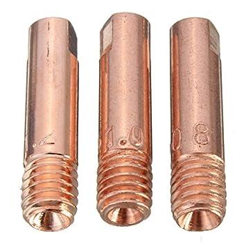 KUNSE 10 Pcs Mb-15Ak M6 Mig/mag Soldadura Antorcha Contacto Boquilla De Gas 0.8/1.0/1.2 Mm-0.8 Mm: Amazon.es: Hogar