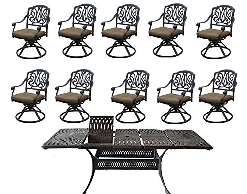 Elisabeth Cast Aluminum 11pc Outdoor Patio Dining Set Santa Clara Extendable Table 48 x 132 With 10 Swivles