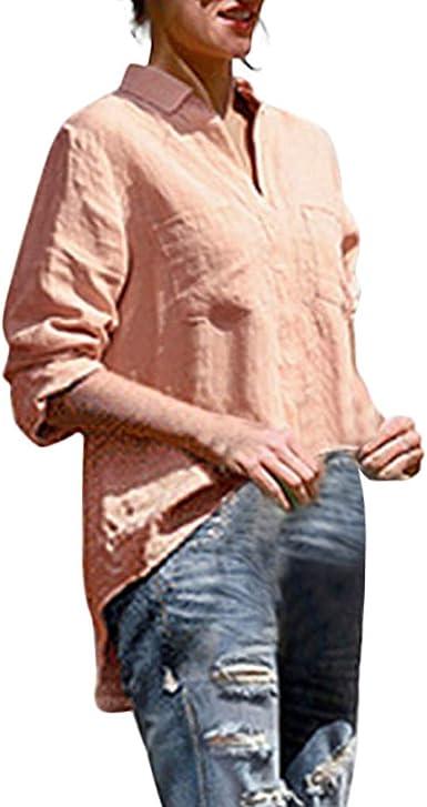 Worsworthy Camisa de Manga Larga de Color sólido para Mujer ...