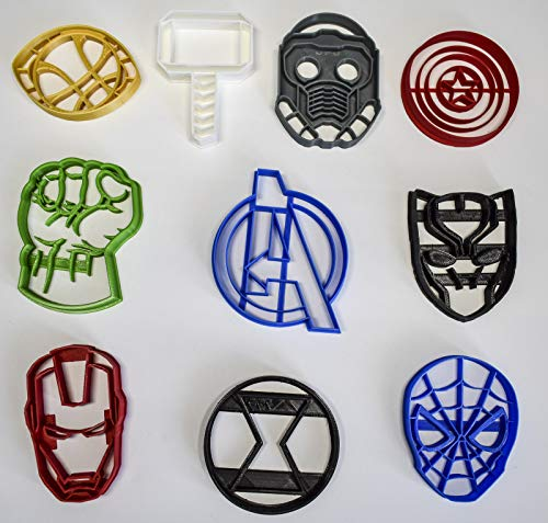 AVENGERS INFINITY WAR MARVEL CHARACTERS LOGOS SET OF 10 SPECIAL OCCASION COOKIE CUTTERS BAKING TOOL MADE IN USA PR1089 (Cutters Cookie Marvel)