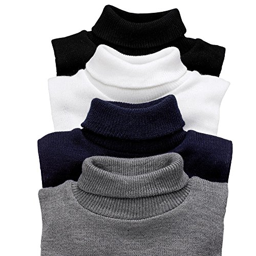 Mock Turtleneck Dickey - Knit Dickeys Sport Set of 4 (Black, White, Charcoal Gray and Navy)