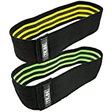 Resistance Hip Bands 2-Pack | WOD Leg Band for Hip Work Out or Physical Therapy | Resistance Loops, Stretchable Fabric, Non-slip Elastic Grippy Inner Layer | Men and Women | Black