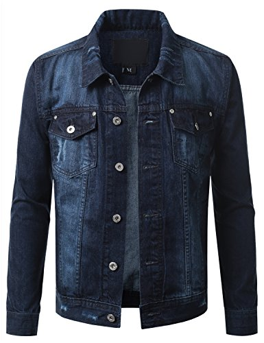 URBANCREWS Mens Hipster Hip Hop Button Down Denim Jacket DSB-Blue Medium