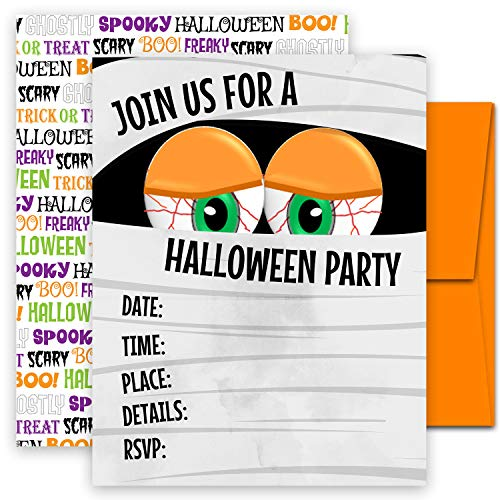 Halloween Costume Birthday Party Invites (25 Deluxe Mummy Halloween or Costume Party Invitations- Large Double Sided 5x7