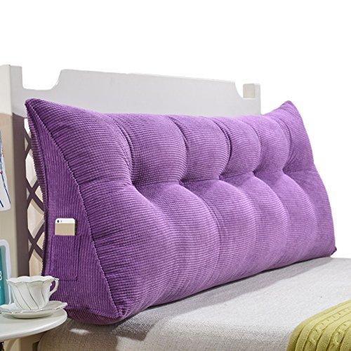 PURPLE 90CM RFJJAL Triangular Cushions Pillow Large Backrest Bed Soft Bag Cushion Double Bed Bedside Big Pillow Reading Office Pillow Waist Pad Washable,60-150cm (color   orange, Size   135cm)