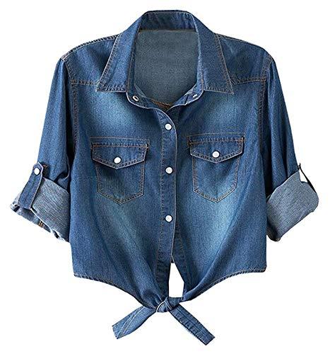 (Women's Roll Up Sleeves Crop Tie Top Denim Shawl Jeans Shirt Dark Blue, Medium )