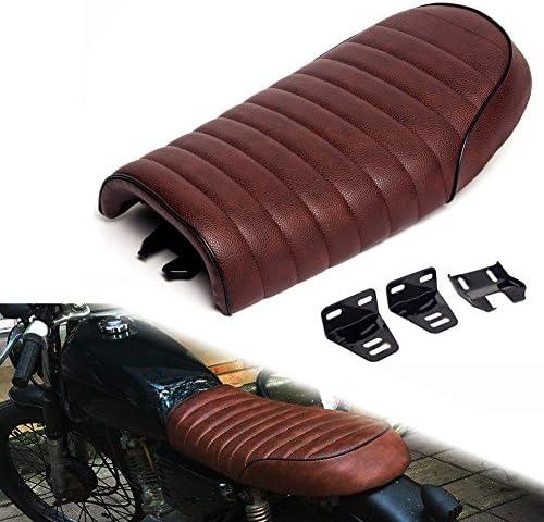 Triclicks Universal Motorrad Sitz Sitzsattel Sitzbänke Sitze Sattel Retro Cafe Racer Sitzbezug Braun Gewöhnliche Flache Sitz Auto