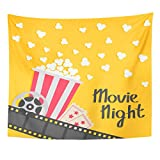 TOMPOP Tapestry Popcorn Popping Big Movie Reel Ticket Admit One Three Star Cinema in Flat Film Strip Border Red Yellow Home Decor Wall Hanging for Living Room Bedroom Dorm 50x60 Inches