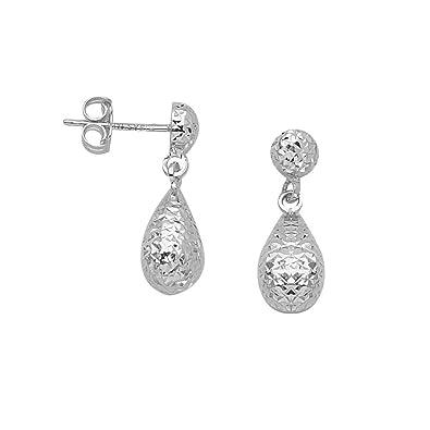 d511c556f Amazon.com: 14k White Gold Teardrop Pear Drop Dangle Earrings with ...