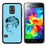 UPPERHAND ( NOT FOR S5 Regular )Stylish Image Picture Smartphone Hard Rugged Case Cover For Samsung Galaxy S5 Mini, SM-G800 - profile portrait man blue short hair art
