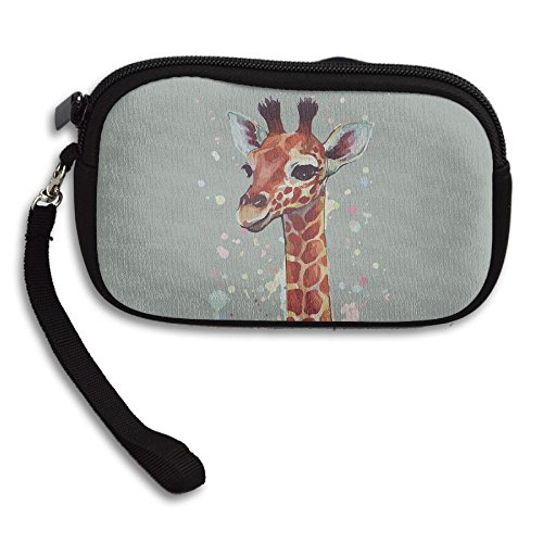 Black Giraffe Wallet - Cute Giraffe Printing Art Comfortable Coin Purse Storage Package Wallet Zipper Change Holder Bag Key Wristlet Wallet Handbag Wallet Zipper Mini Wallet For Men & Women