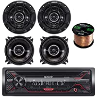 Sony CDX-G1200U 55W CD Receiver with Enhanced Smartphone Connectivity, 4X Kicker 41DSC44 4 Inch 2-Way Black Car Audio Stereo Coaxial Speaker, Enrock Audio 16-Gauge 50 Foot Speaker Wire