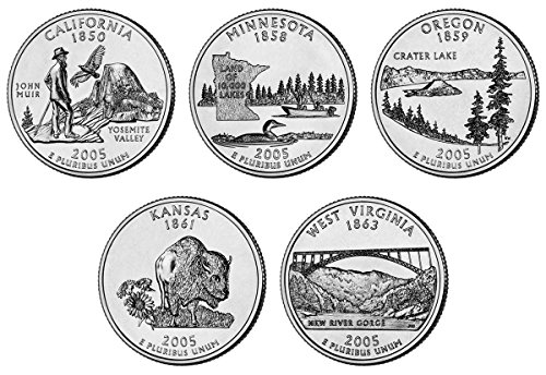 2005 P, D BU Statehood Quarters - 10 coin Set Uncirculated