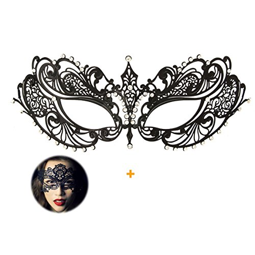 Masquerade Mask for Women Shiny Rhinestone Venetian Party Prom Ball Metal Mask (Home Made Carnival Costumes)