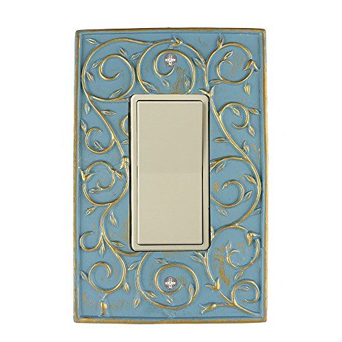 Meriville French Scroll 1 Rocker Wallplate, Single Switch Electrical Cover Plate, Cameo Blue with Gold
