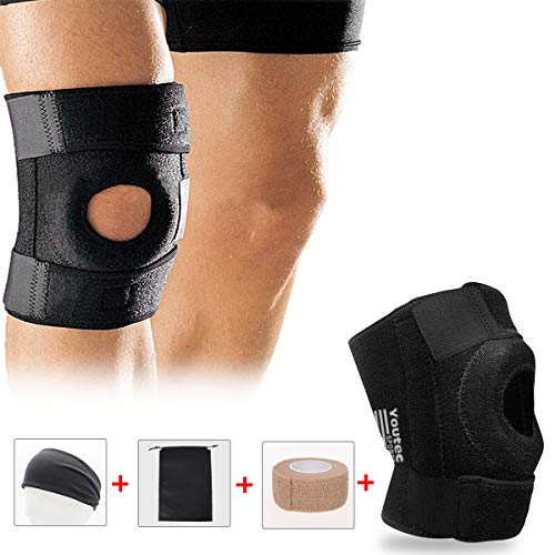 Knee Brace, Youtec Knee Sleeve, Knee Support Hinged Leg Pad Men & Women Large Small with Adjustable Velcro for Meniscus Tear, Arthritis, ACL, MCL, Sport, Running, Basketball, Restling, Calf, Black