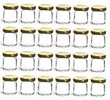 mini canning lids - Nakpunar 24 pcs, 1.5 oz Mini Glass Jars with Gold Lid for Jam, Honey, Wedding Favors, Shower Favors