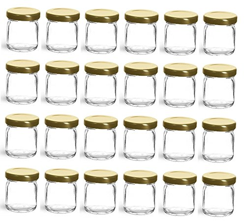 Nakpunar 24 pcs, 1.5 oz Mini Glass Jars with Gold Lids - Made in USA - For Jam, Honey, Wedding Favors, Shower Favors ()
