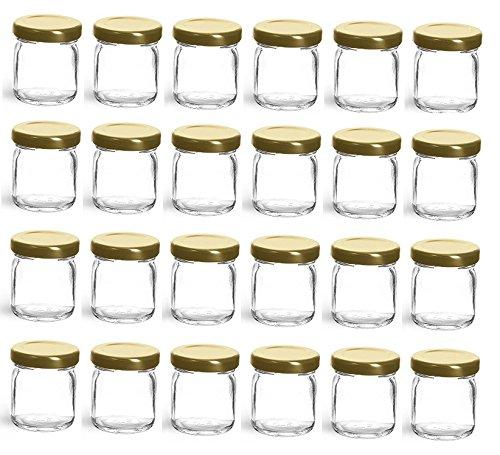 Nakpunar 24 pcs, 1.5 oz Mini Glass Jars with Gold Lids - Made in USA - For Jam, Honey, Wedding Favors, Shower Favors