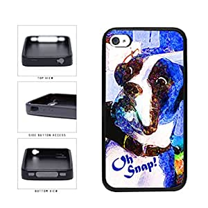 Oh Snap Shocked Brown and White Boxer Dog TPU RUBBER Phone Case Back Cover Apple iPhone 4 4s includes BleuReign(TM) Cloth and Warranty Label