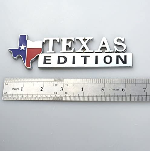 1pc Texas Edition Emblem Longhorn State Flag  SUV Pickup Truck Logo Black