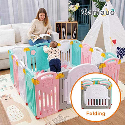 - Foldable Baby Playpen Kids Activity Centre Safety Play Yard Home Indoor Outdoor New Version (Bear)