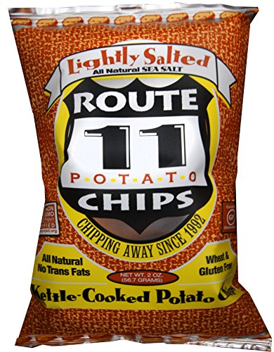 Lightly Salted Chips - Route 11 Lightly Salted Potato Chips, kettle cooked in small batches, non-GMO, dairy free, peanut free, all natural snacks made in the USA (15 bags (2 oz each))