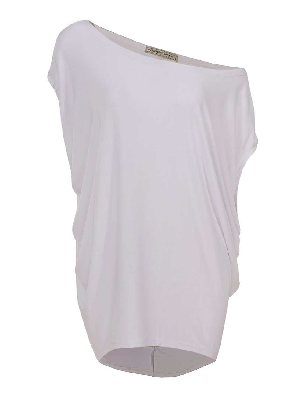 GLOSTORY Womens Casual Summer Off the Shoulder Tee Shirts Blouse Tops 1667 (XL, New White)