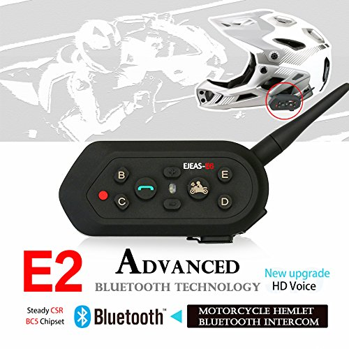 Radioddity 2-Pack E6 Bluetooth Motorcycle Helmet Intercom VOX Interphone Headset, 1.2KM Full Duplex Interphone for Outdoor Sports Walkie Talkie 6 Riders by Radioddity (Image #1)